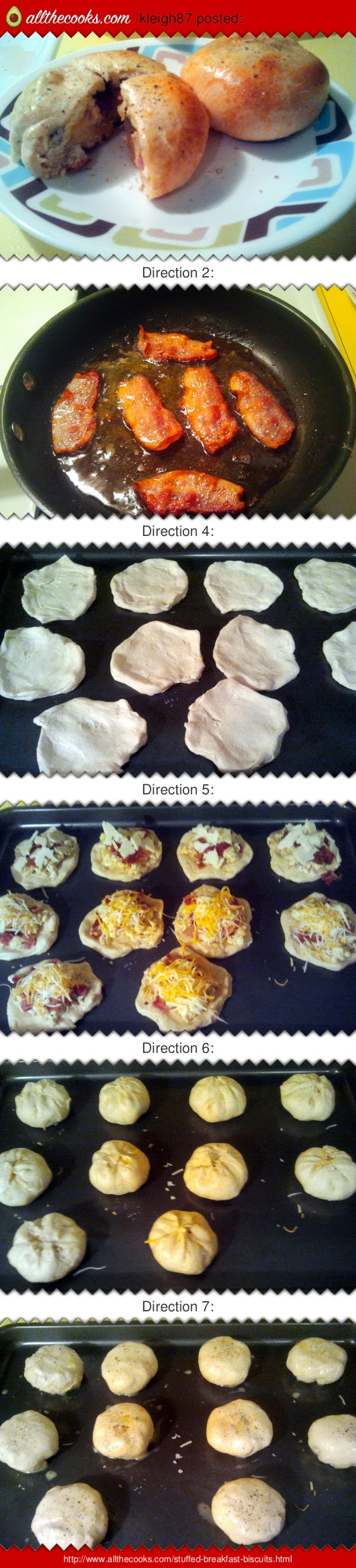"""Stuffed Breakfast Biscuits! 4.79 stars, 24 reviews. """"My family loved them!  Can be made with a variety of ingredients :  sausage, hashbrowns, etc.  I made some with shredded cheddar cheese and some with pepper jack for the extra kick.  The biscuits can easily be frozen and reheated in the microwave."""" @allthecooks #recipe"""
