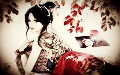 Tattooed geisha wallpaper