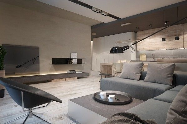 This interior by Ukraine-based designer Yana Osipenko features a more rugged natural theme based largely around the soothing colors of wood, sand, and stone. These elements work well with the industrial – almost Bauhaus – furniture pieces used as accents throughout. Although the interior is sleek and streamlined, it shines through its impressive subtle details.