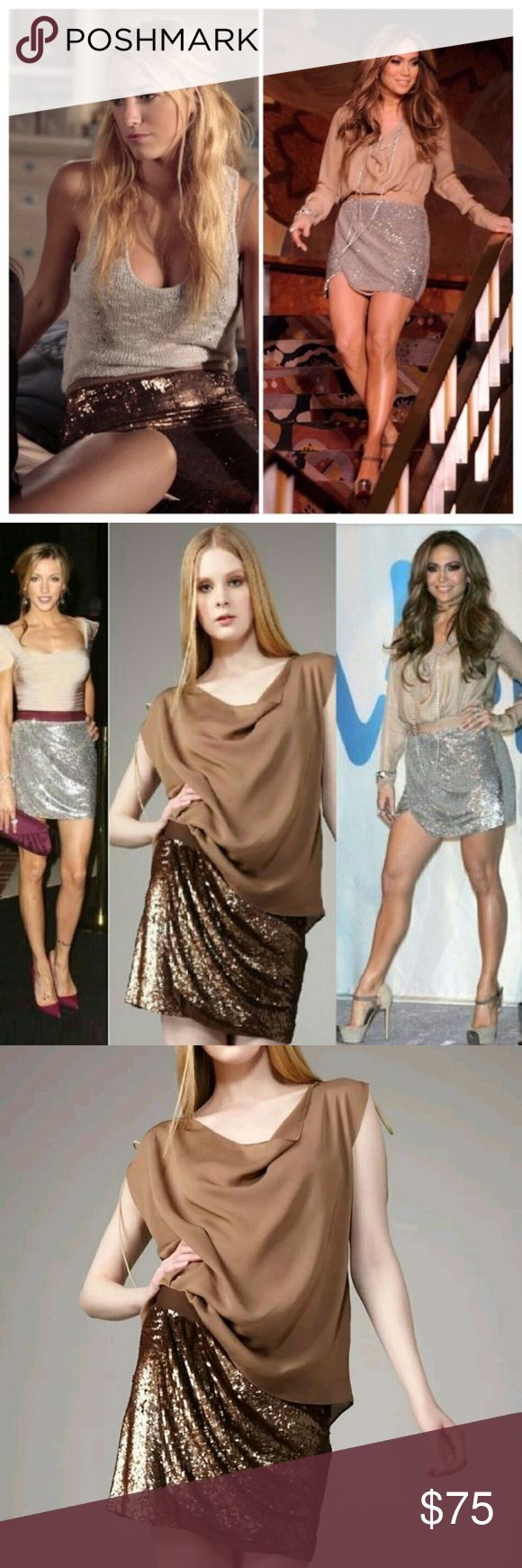 """Haute Hippie Silk Sequin Faux Wrap Mini Skirt NWOT Haute Hippie Faux Wrap Silk Sequin Mini Skirt in Copper. The Faux Wrap style adds sleek folds of sparkling sequins to this slim and sexy copper color mini skirt. A very flexible piece which you can pair with a blouse for a shimmering evening look or rock out with chunky knits. Worn by many celebrities, this is a must have addition to any wardrobe! It is in new condition with extra sequins attached. Fully lined with 100% Silk. Length 15"""" size…"""