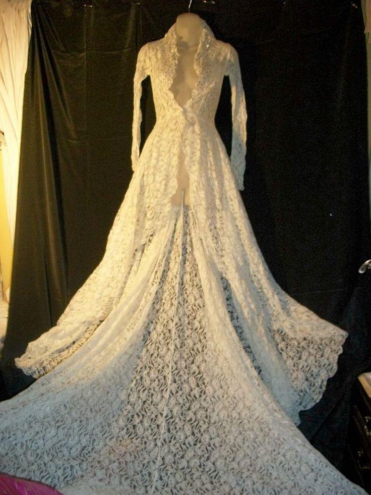 Antique Edwardian Irish Lace  Wedding  Coat 6 Foot Train Small Beyond Gorgeous  #Unknown
