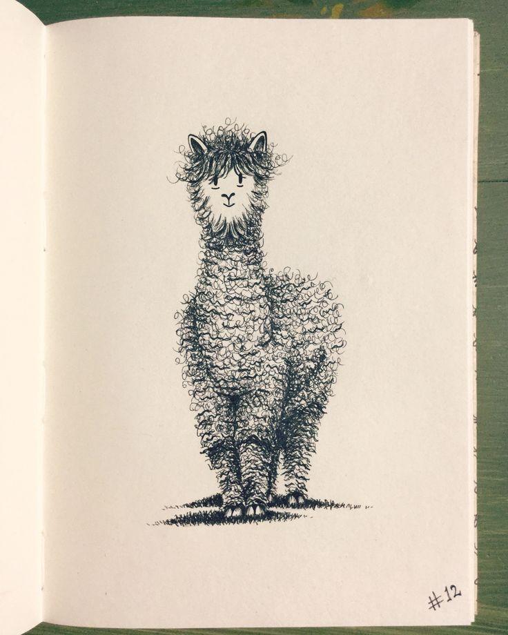 #inktober Day 12 - Alpaca - even alpacas have bad hair days!