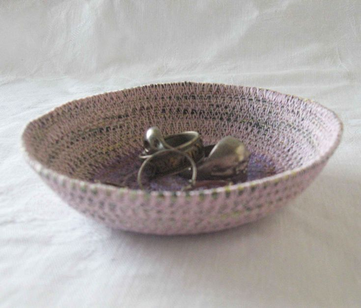 Pale pink ring dish, ring bowl, key bowl, trinket dish, cord dish, coiled yarn bowl, coiled bowl, coiled basket, pink dish, pink bowl purple by Rethreading on Etsy