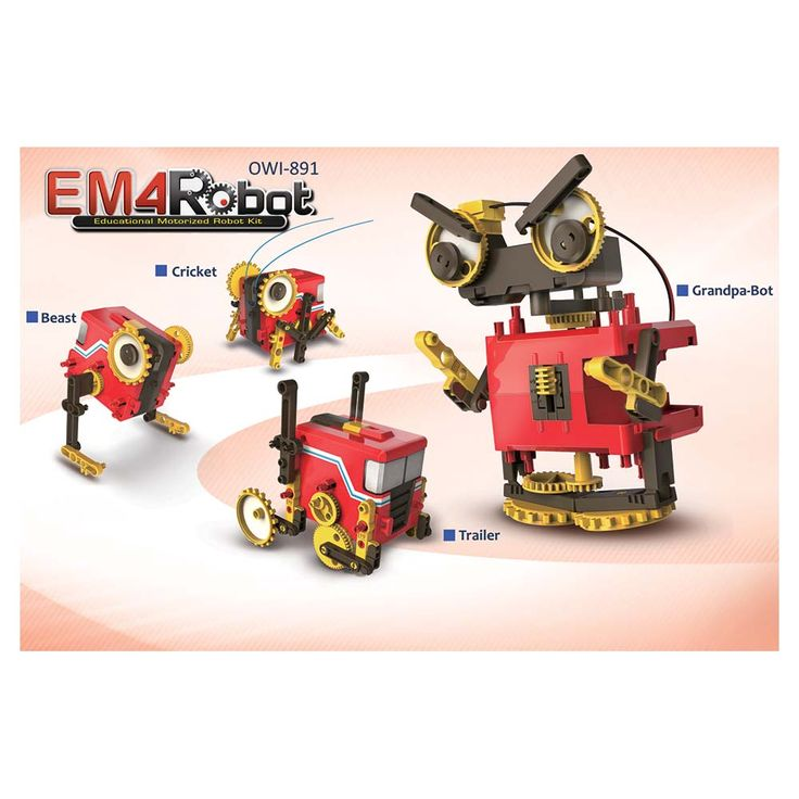 EM4 Robot Kit-the EM4 Educational Motorized Robot Kit is your 3-speed vehicle to positively impact a young builder by using OWI's robotics theory. OWI has designed this kit for the lovers of simplicity. Everything from its compact easy-assembly design to its need for only one AA battery provides your child with a fun and easy-to-assemble robotic playmate.  #stem #steam