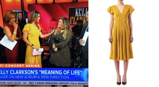 Mellow Yellow! Get the scoop on Savannah Guthrie's Yellow Velvet Dress here: Mellow Yellow! Savannah Guthrie's Yellow Dress on #Today https://www.bigblondehair.com/savannah-guthries-pearl-button-flutter-sleeve-dress/ #TodayShow Today Show