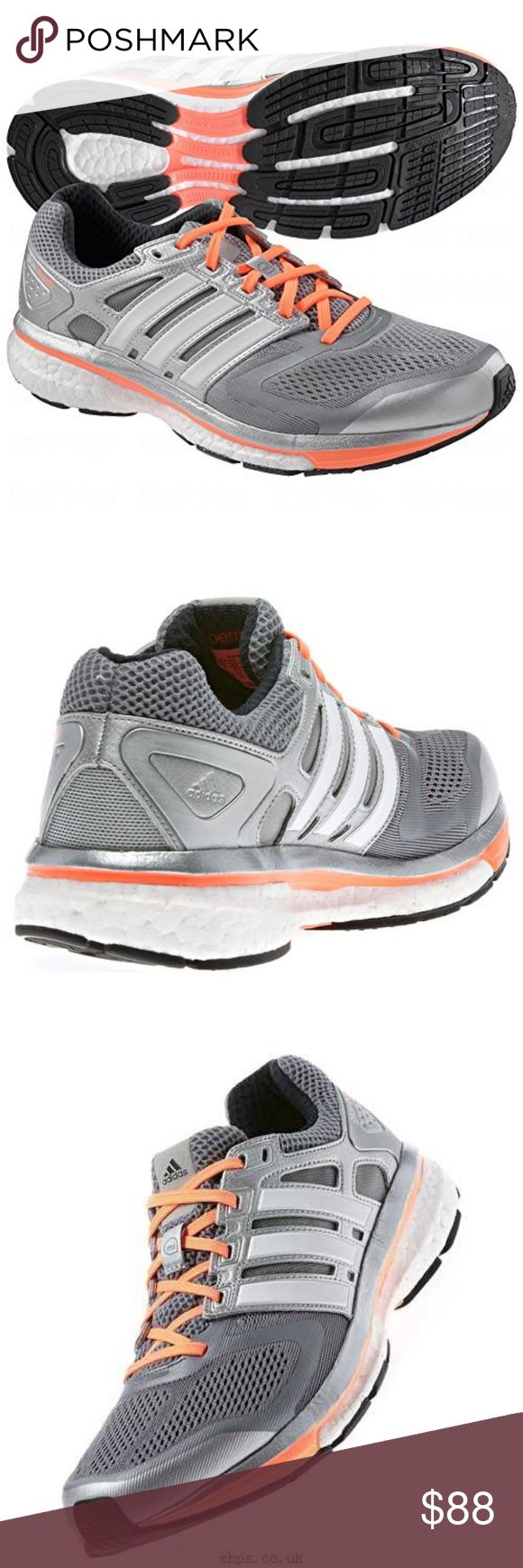 MINT Adidas GLIDE BOOST Silver Coral Womens 12 MINT Adidas GLIDE BOOST Silver Coral Womens 12, UK 10.5 45 2/3 EUR, same as men's 11 US. Worn only a couple times showing hardly any use. Comes with original clean insoles and laces. Adidas Shoes Athletic Shoes