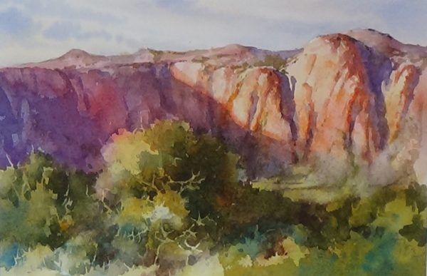 Kayenta Cliffs Watercolor Red Painting Snow Canyon State Park