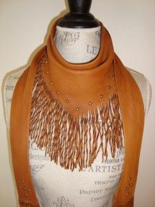 Saddle Leather Fringe Scarf with Studs