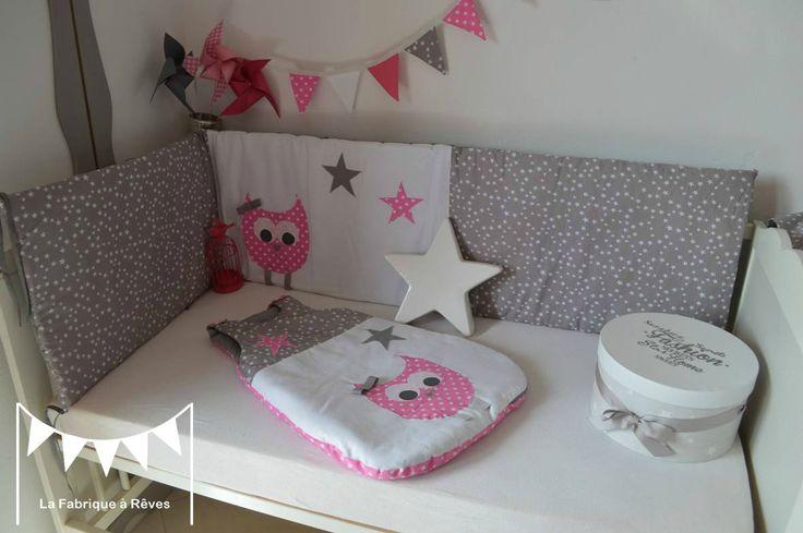 linge lit tour de lit 60 120 cms turbulette gigoteuse 0-6 mois bébé fille hibou chouette rose gris blanc étoiles pois 3