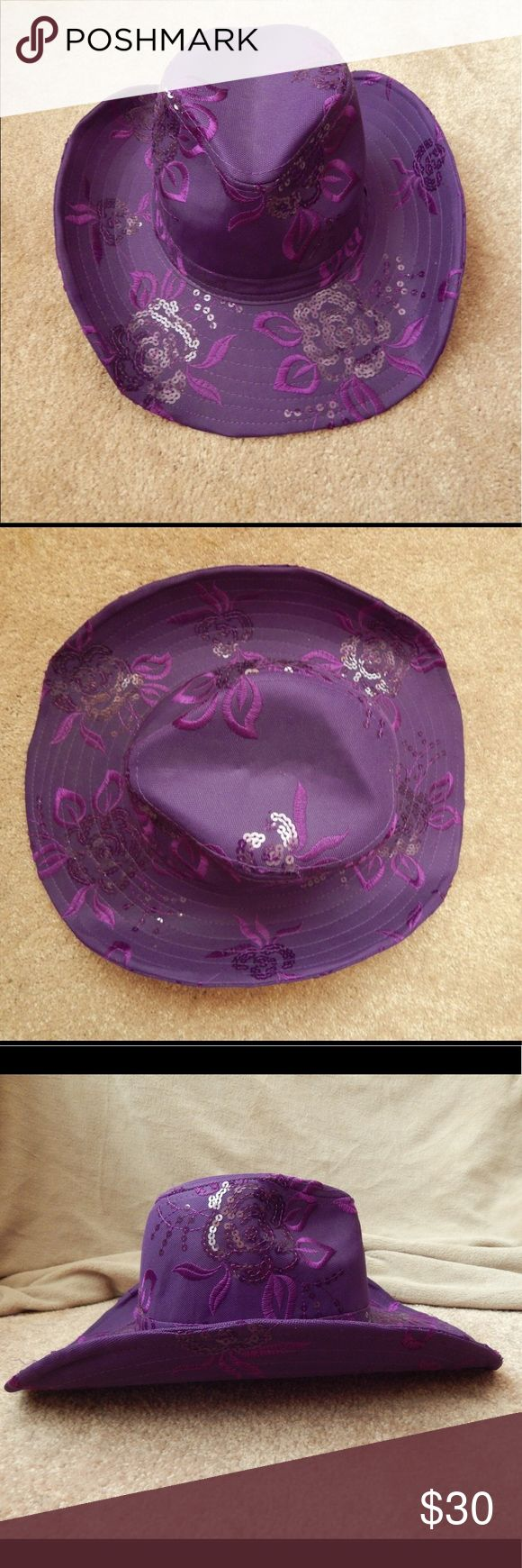Cowgirl Hat with Sequins and Flower Embroidery Purple cowgirl hat with sequins and flower embroidery. Worn only once. Wire rim for adjusting shape. A beautiful addition to a flannel and jeans or a simple summer sun dress. Accessories Hats
