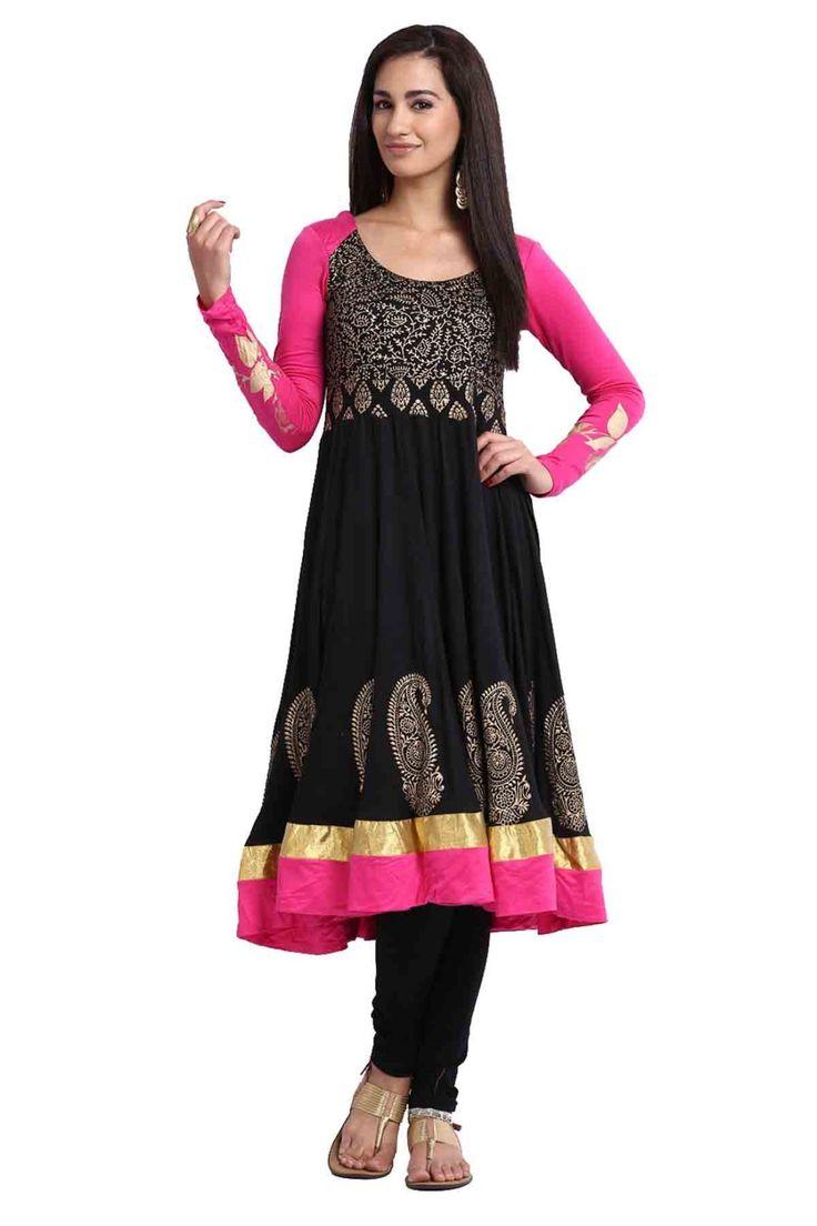 -Black and Pink Viscose Designer Kurti