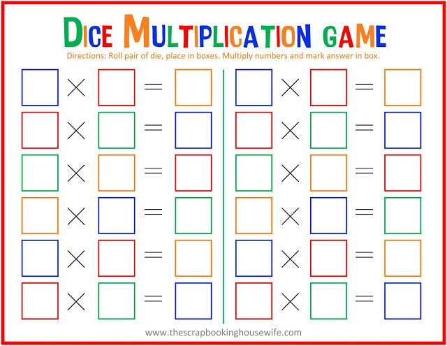 picture relating to Multiplication Game Printable called Cube Multiplication MATH Video game for Young children - Cost-free Printable