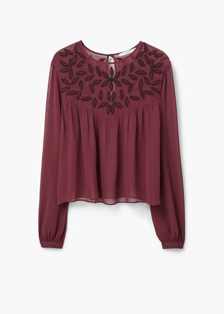 Beaded chiffon blouse - Shirts for Women | MANGO USA