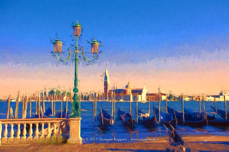 Picture of Venice (Italy) manipulated and printed on High quality Canvas (or Fine Art Paper) with Ultrachrome HDR pigmented inks. #venezia #venice #italy #suset #tramonto #gongole #gondolas #canal grande #grand canal