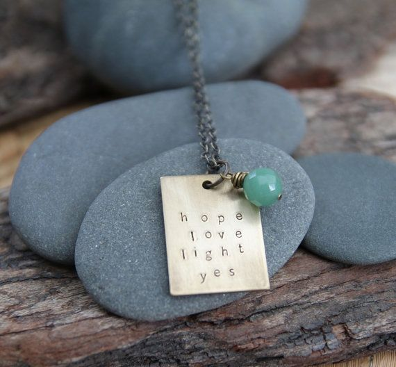 hope love light yes . a hand stamped soul mantra necklace