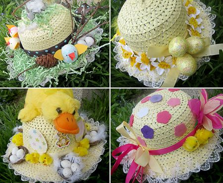 easter bonnets - have one for each gal to decorate and wear to easter brunch. (adults too)