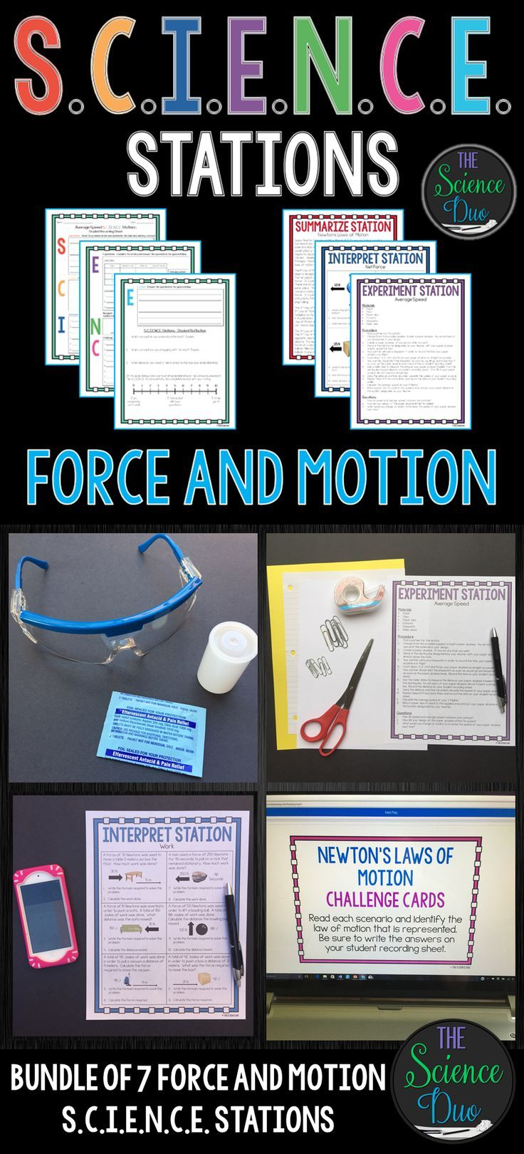 This Force and Motion S.C.I.E.N.C.E. Stations Bundle is designed to get your students engaged, collaborating, and moving in your daily lesson. This bundle includes 7 different Force and Motion S.C.I.E.N.C.E. Station activities.