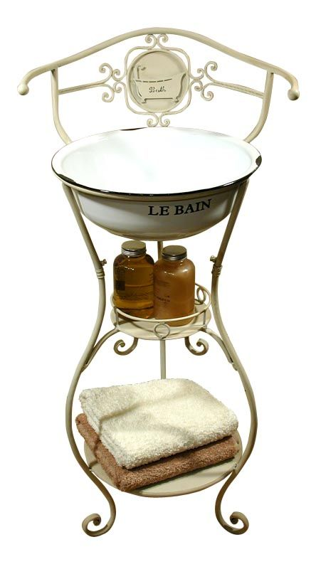 Shabby Chic Metal Old Tin Bath Wash Stand