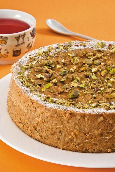 Una pastel de pistache esponjosito y sabroso.