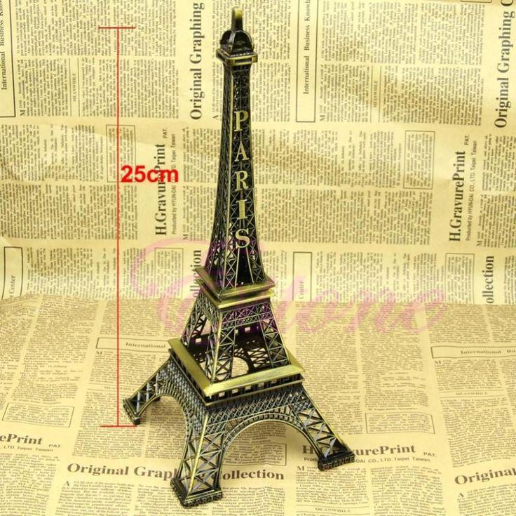 Aleación de La Vendimia de bronce Del Tono París Torre Eiffel Estatua Estatuilla Modelo Decoración 25 CM