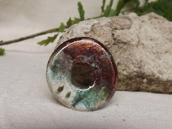 Ceramic pendant round pendant raku by BlueBirdyDesign on Etsy, €7.00