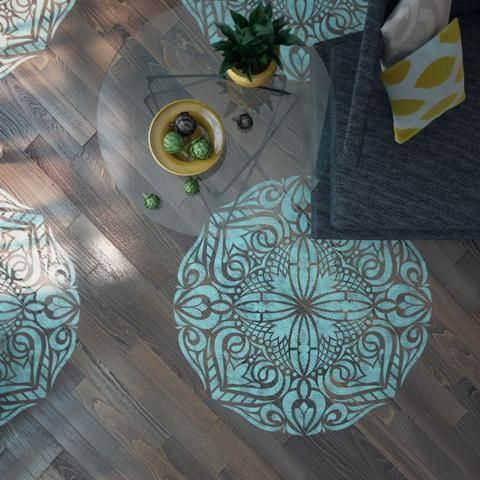 """Mandala Stencil Floor Stencil - Mandala Floor Stencil - Wall Painting Stencils - Mandala Wall Stencil THE SIZE OF THE STENCIL THAT WE USE ON 1st PICTURE IS 44'' x 44"""" NOTE: This is a reusable stencil."""