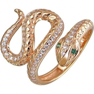 Кольцо Змейка с фианитами и изумрудами из красного золота | Каталог товаров по сниженной цене.