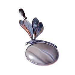 ważka,krzemien pasiasty. kobiecy,srebrny,prezent - Wisiory - Biżuteria