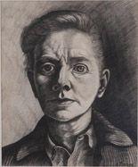 Charley Toorop (Dutch 1891-1955), Zelfportret, black chalk, 1943. Collection Fondation Custodia (Institut Neerlandais), Paris.