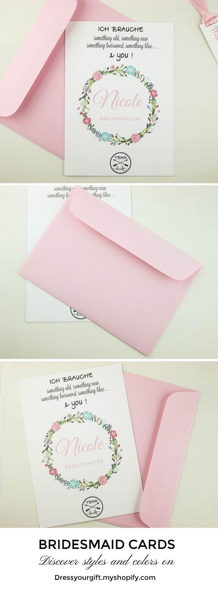 Personalized bridesmaid card and envelope, pink bridal shower invitation #bridalshowerinvitation #brautjungfern #demoiselledhonneur #damadehonor#trauzeugin