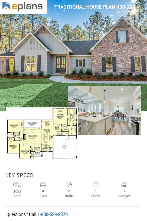 Traditional Style House Plan 4 Beds 2 Baths 2095 Sq Ft Plan 430 228 Craftsman Style House Plans Ranch Style House Plans House Blueprints Traditional style house plan 41402