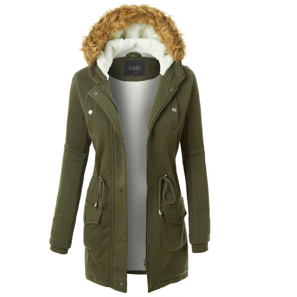 LE3NO Womens Long Fleece Faux Fur Lined Hoodie Parka Coat Jacket ($29) ❤ liked on Polyvore featuring outerwear, coats, parka coat, fleece coat, long parka, fleece parka and long parka coats