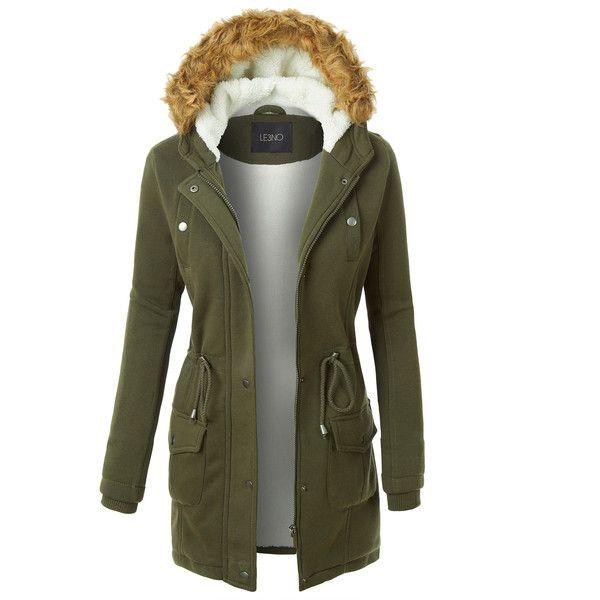 LE3NO Womens Long Fleece Faux Fur Lined Hoodie Parka Coat Jacket (93 PEN) ❤ liked on Polyvore featuring outerwear, coats, long coat, long length coats, fleece parka, parka coat and faux fur lined parkas