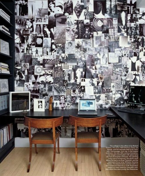 A commissioned installation of a black & white #collage envelops this office, by Robert Greene (Robert Miller Gallery)