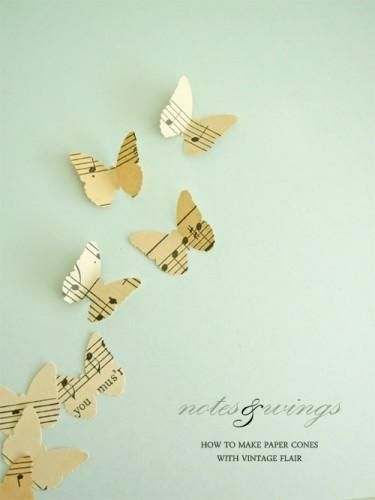 diy paper wedding butterflies. Could be used with any shape and even with poetry or other books :)