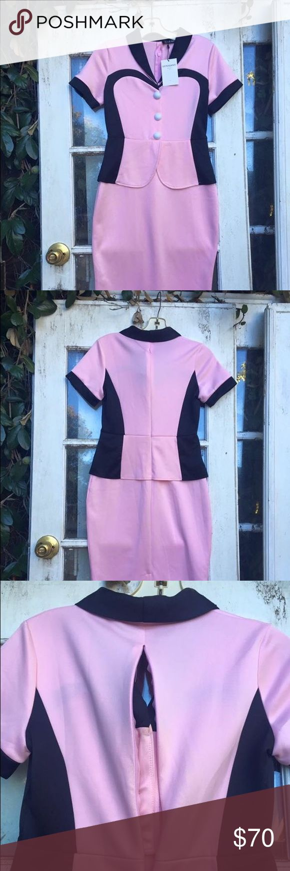 """1950s Pink Lana Janey Waitress pencil SM dress Brand new never worn. Tags attached. Size SM on tag. Located in Reseda, CA. Shipping cost $6.00 for US. Ships internationally with approval plus extra shipping.  Paypal payment must be paid ASAP after the invoice.   Best offer accepted   Bust 36-38"""" Waist 27-28"""" Hip 38-39""""  Originally $120 Read Less Lana Janey Dresses Midi"""