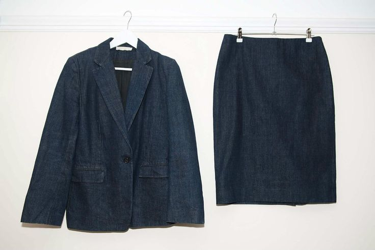 Nicole Farhi Womens Blue Denim 2 Piece Skirt + Jacket Suit Size 12 Made In Italy