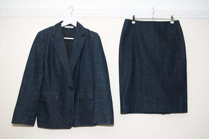 Nicole Farhi Womens Blue Denim 2 Piece Skirt + Jacket Suit Size 12 Made In Italy