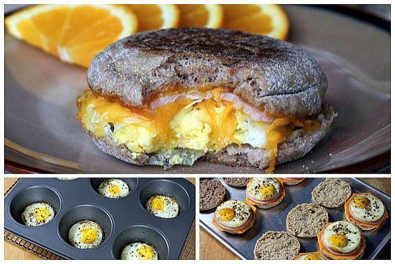 Healthy egg mcmuffin...make 9-12 at a time and freeze individually then reheat in microwave in the morning!