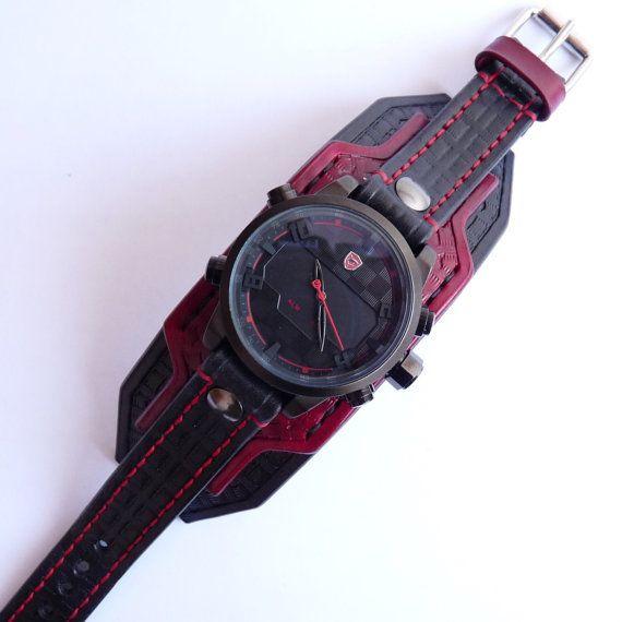 Black & Red Leather Cuff Watch Wrist Watch от loversbracelets