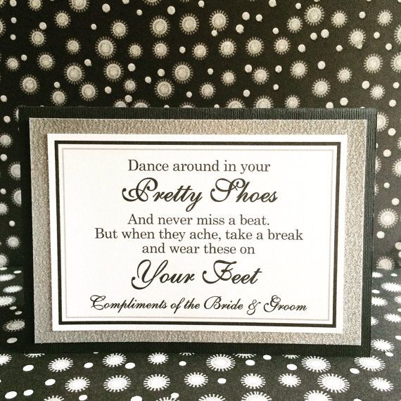 5x7 Tent Folded Dance Around in Your Pretty Shoes Wedding Flip Flop Basket Sign in Black and Silver Glitter by WeddingsBySusan