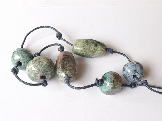 Ceramic Raku Necklace by BlueBirdyDesign on Etsy, €15.00