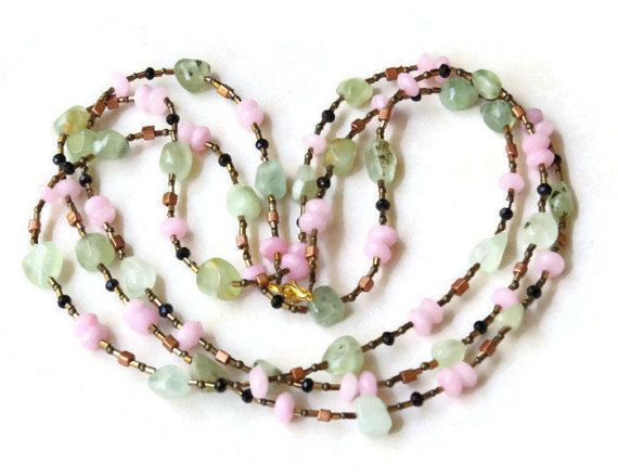 Extra Long Triple Wrap Mint Pink Necklace Natural