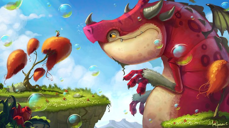 Bubble Dragon Picture  (2d, illustration, bubbles, dragon, fantasy, cartoon)