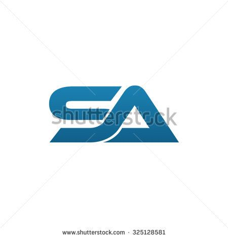 SA company linked letter logo blue