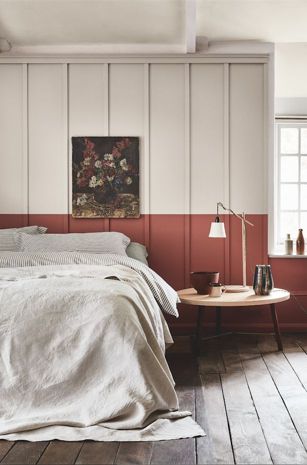 The rich terracotta paint by Little Greene on the bottom half of the wall looks very striking and adds warmth to this laid back bedroom. Read our full feature for the top colour trends in interior design for 2017 and 2018 and the complete guide to the best paint brands to use and how to use them in your home.