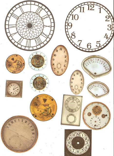free collage sheets - I want to use the clock in the upper left hand corner on a canvas with webbing and maybe embroidery and 3D details like flowers, beads, etc....
