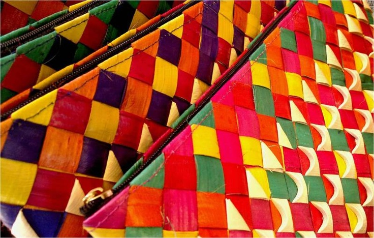 Colorful banig bags from Laoag
