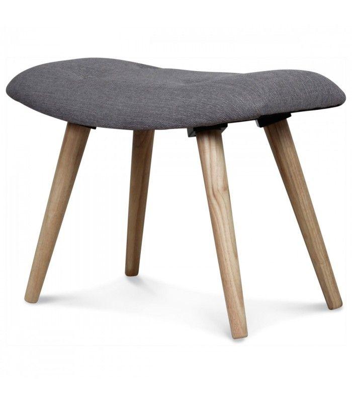 tabouret en bois et tissu gris jules taupe and design. Black Bedroom Furniture Sets. Home Design Ideas