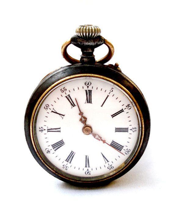 Antiguo Reloj Bolsillo Ingles Open Face Caja Acero por shopvintage1